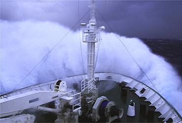 Transport, antarctica. Drake s passage. Ship in hurricane