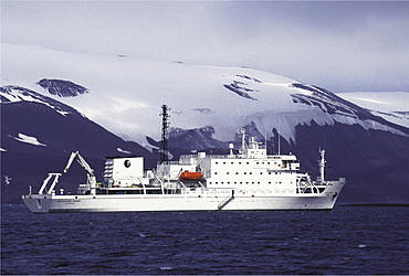 Tourism, antarctica. Deception island. Tourist ship anchored