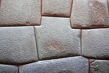 Inca Stone wall made from huge granite blocks fitted skillfully together using no cement, a fine example of Inca craftsmanship, Cuzco, Peru, South America