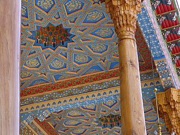 Uzbekistan detail of ceiling at the bakhauddin nakshbandi ensemble, a sufic mausoleum complex near bukhara