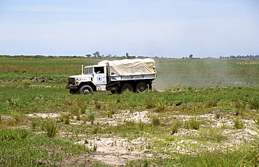 Zambia un truck delivering food aid to a remote part of shangombo district during a time of drought and near-famine 2002-2003