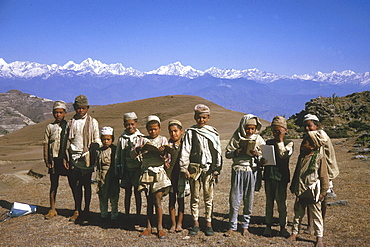 Nepal schoolboys their books nagarkot