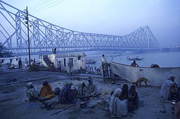 Howrah bridge and homeless people, india.