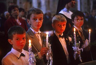 Ukraine 1st hoy communion for children at st. Georges greek catholic church