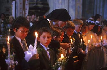 Ukraine children at 1st communion st. Michaels greco catholic church