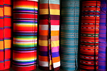 Guatemala detail of hand woven fabrics in a shop, santa catarina palopo, on lake atitlan
