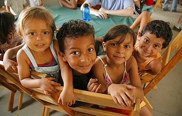 Honduras children at a free feeding program. slum barrio of chamelecon, pedro sula