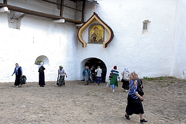 Russia entance to inner section of pechersky caves monastery, pskov district, founded on august 28th 1473 by saint jonah sheshnik
