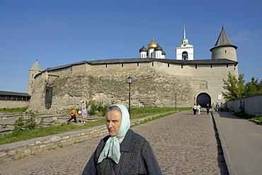 Russia exterior of kremlin at pskov