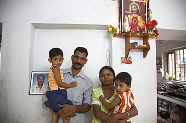 India. Small house of michael and jophy jaison. House building project funded by social services department of ernakulum diocese by father jose thottakara, kerala