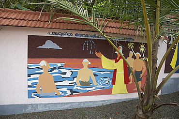 India. Mural depicting the life of thomas, at the saint thomas museum ernakulum. Thomas performing a miracle (making diamonds out of water) in palayur. In the footsteps of saint thomas: visiting the eight churches founded by the apostle in kerala after he arrived in 52 ad