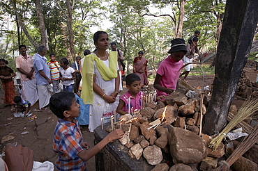 India. Faithfiul at a station of the cross during the pilgrimage to malayattoor, a hill which saint thomas the apostle is believed to have climbed around 55 ad, leaving his footprints at the top. It is a major pilgrim centre for christians as well as hindus and moslems, who believe the trip can cure them of physical and mental disease. Kerala