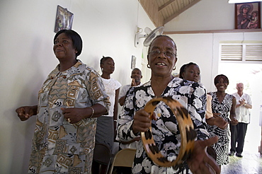 Jamaica. Sunday mass at catholic church in chester castle