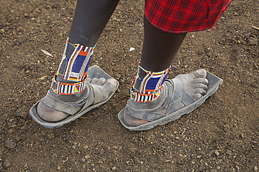 Kenya. Detail of sandals worn by a masai man, masai village within the amboseli national park