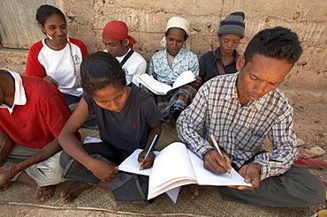 East timor. Adult literacy class, fatumerita, aileu district