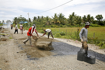 Indonesia workers asphalting a road which was constructed by a crs cash for work project, meulaboh, aceh, after the tsunami