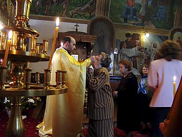 Religion, bulgaria. Sunday mass at the byzantine catholic assumption cathedral, sofia