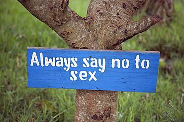 Uganda the kyayaaye roman catholic primary school in kayunga district. say no to sex sign
