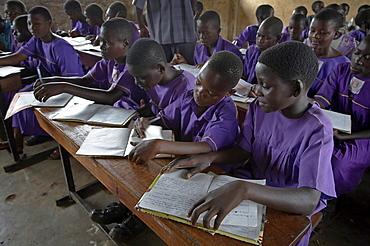 Uganda the kyayaaye roman catholic primary school in kayunga district. children in class
