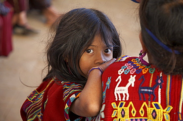 Guatemala mayan indian girl of chajul, el quiche, wearing her traditional dress