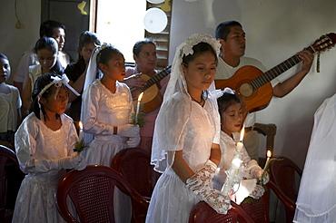 Guatemala catholic first communion and mass at remate, el peten