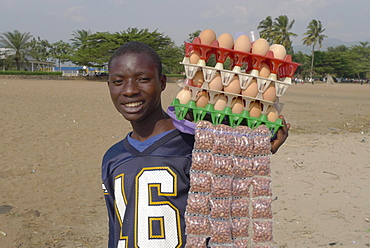 Burundi traders on beach at bujumbura.