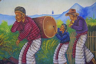 Guatemala murals depicting mayan way of life, san juan la laguna.