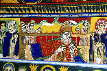 Religion, ethiopia. 17th –19th century murals in new gondar style, at the old saint mary of zion church. Axum