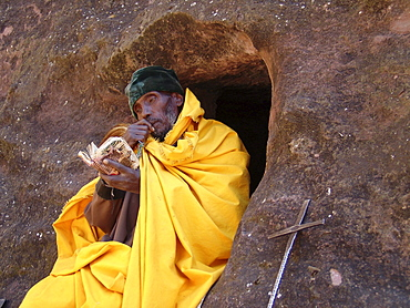 Religion, ethiopia. Monks staying in the caves near the churches of lalibela