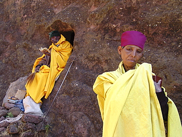 Religion, ethiopia. Monk and nun staying in the caves near the churches of lalibela