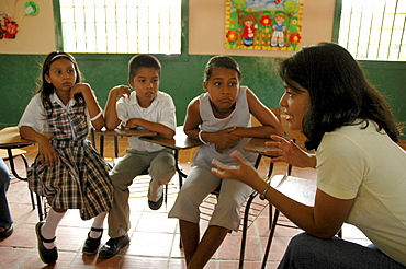 Colombia extra-curricular seminar in a middle school at la paz, barrancabermeja, in which children discuss violence in their community, and their personal experiences. Many had witnessed killings and dead bodies at close range. The seminars are organised by dni, international defense of children. Their town is one of the most violent in colombia