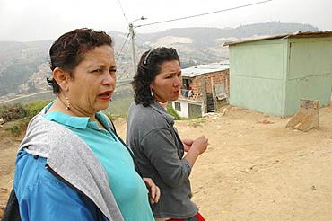 Colombia residents of the sprawling slum development at altos de cazuca, bogota