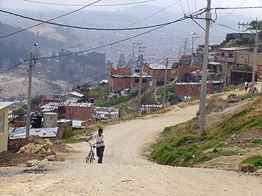 Colombia sprawling slum development at altos de cazuca, bogota