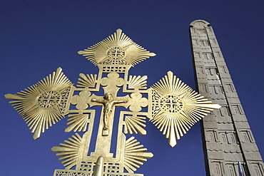 Ethiopia the maryam feast, feast of mary, at axum. Ethiopian cross and the stela of king ezana