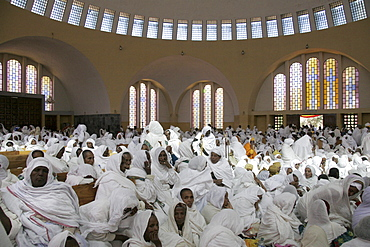 Ethiopia the maryam feast, feast of mary, at axum. Worshippers assembled insdie the church of saint mary of zion