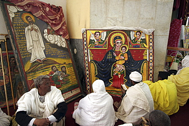 Ethiopia the maryam feast, feast of mary, at axum. Pilgrims venerating mary, insdie the church of saint mary of zion