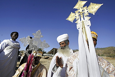 Ethiopia the maryam feast, feast of mary, at axum. Priests holding elaborate ethiopian crosses during the event