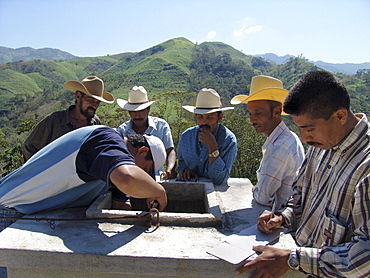 Honduras local community members working on a new water system for their village. Agua caliente, near copan
