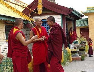Mongolia buddhist monks at gandan monastery, ulaan baatur