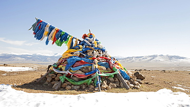 An ovoo, traditional place of worship in the middle of the Mongolian countrtyside, Mongolia, Central Asia, Asia