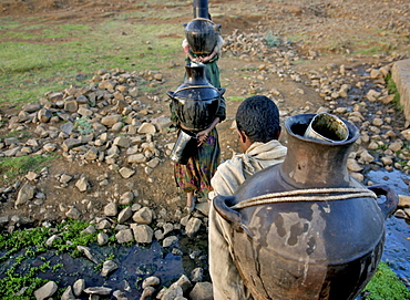Women fetching water early in the morning. The wells in this area are empty during the dry season,forcing women to walk very long distance to fetch water in the nearest river bed. Ethiopia - 1195-26