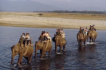 Caravan crossing rapti river chitwan, nepal