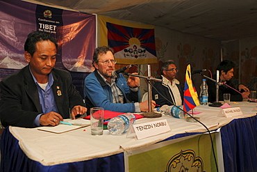 """Panel discussion about melt down in tibet sponsored by tibetan woman's association, highlighting the future of nomads and the drastic resettelment measures they are undergoing by the chinese. And the effect of the construction of 30 storey high dams in tibet by the chinese. Michael buckley did a film """"meltdown in tibet"""""""