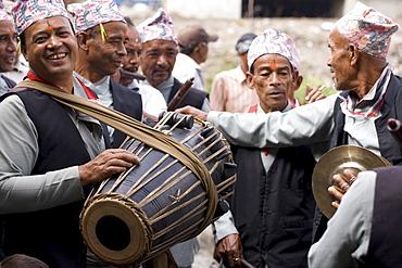 Newars, the dominant clan of Kathmandu Valley, playing traditional music. Bhaktapur, Nepal