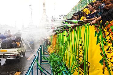 Thingyan, Burmese New Year Water Festival celebration in Yangon (Rangoon), Myanmar (Burma), Asia