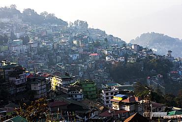 Gangtok city from Hotel Denzong Regency, Gangtok, Sikkim, India, Asia