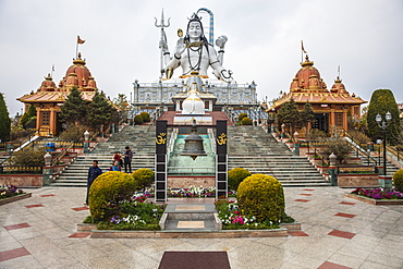 The 87 feet high statue of Lord Shiva in the sitting posture at Solophok Hill. Solophok Chardham, Namchi, Sikkim, India, Asia