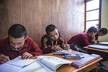 Monks at Lelung Monastic Institute studying Tibetan, Namchi, South Sikkim, India, Asia