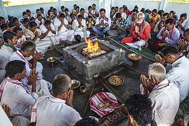 Hawan (offering to fire god) at Karbi Anglong District Brahma Dharma Jyoti Mondir, Langhin Manikpur, India, Asia