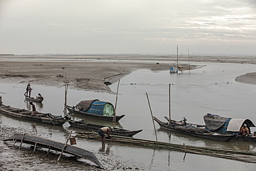 The ferry, the only mode of transport for all sorts of commodities in and out of Majuli Island, Brahmaputra River, Assam, India, Asia